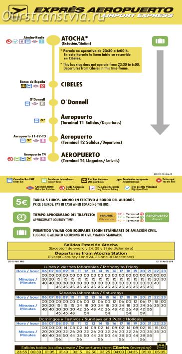 Расписание движения автобуса-экспресса в аэропорт из центра Мадрида в 2019 году