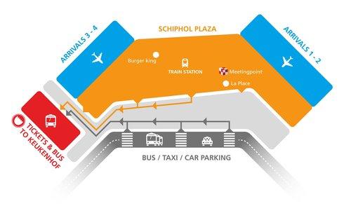 Остановка автобуса в Кекенхоф из аэропорта Амстердама - схема